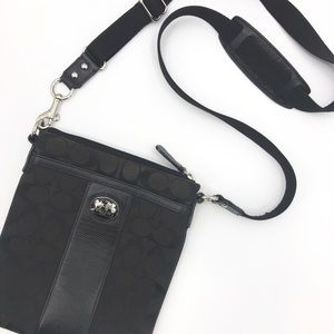 COACH Black and Dark Brown Crossbody Messenger Bag